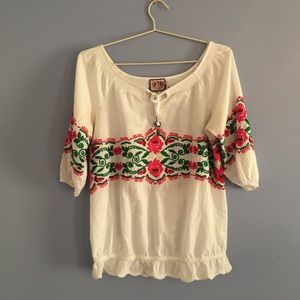 White Juicy Couture Blouse with Floral Embroidery